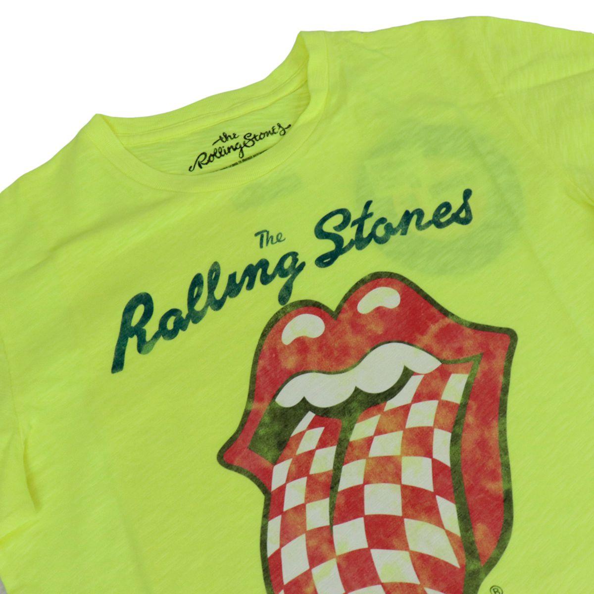 Cotton T-shirt with Rolling Stones print Fluo yellow MC2 Saint Barth