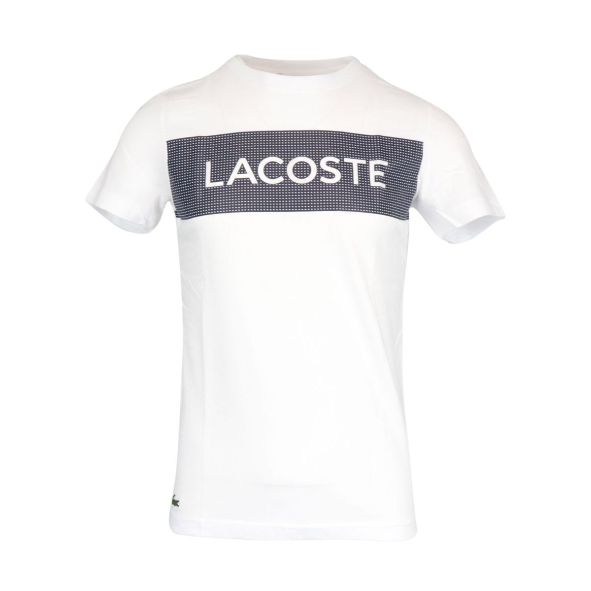 Short-sleeved T-shirt in cotton blend with contrasting logo print White Lacoste