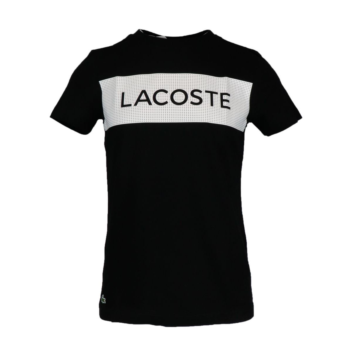 Short-sleeved T-shirt in cotton blend with contrasting logo print Black Lacoste
