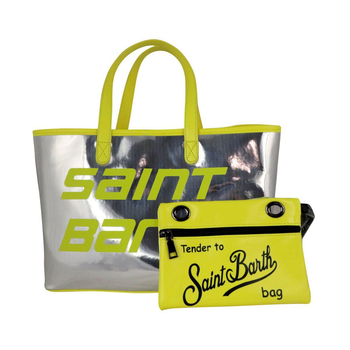 Las Vegas Mini bag in mirror effect PVC Silver MC2 Saint Barth