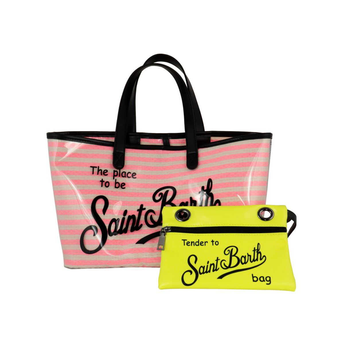 Las Vegas bag in PVC and cotton Neon pink MC2 Saint Barth