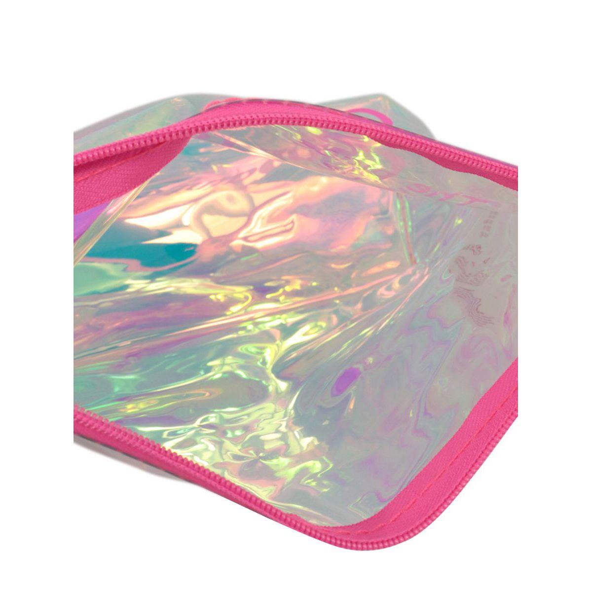 Aline clutch bag in PVC with logo print Pink MC2 Saint Barth
