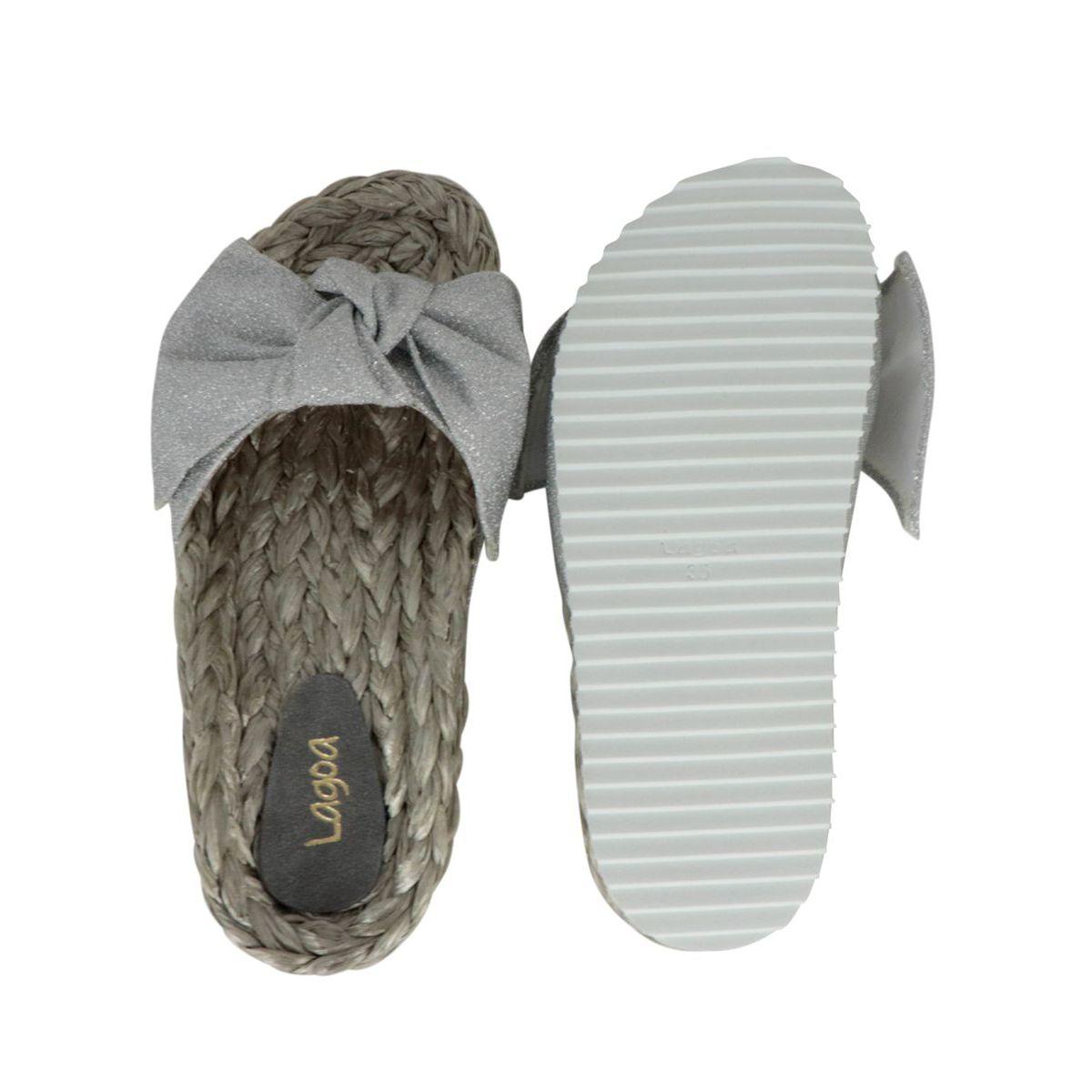 Lopez raffia slipper with lurex bow Silver LAGOA