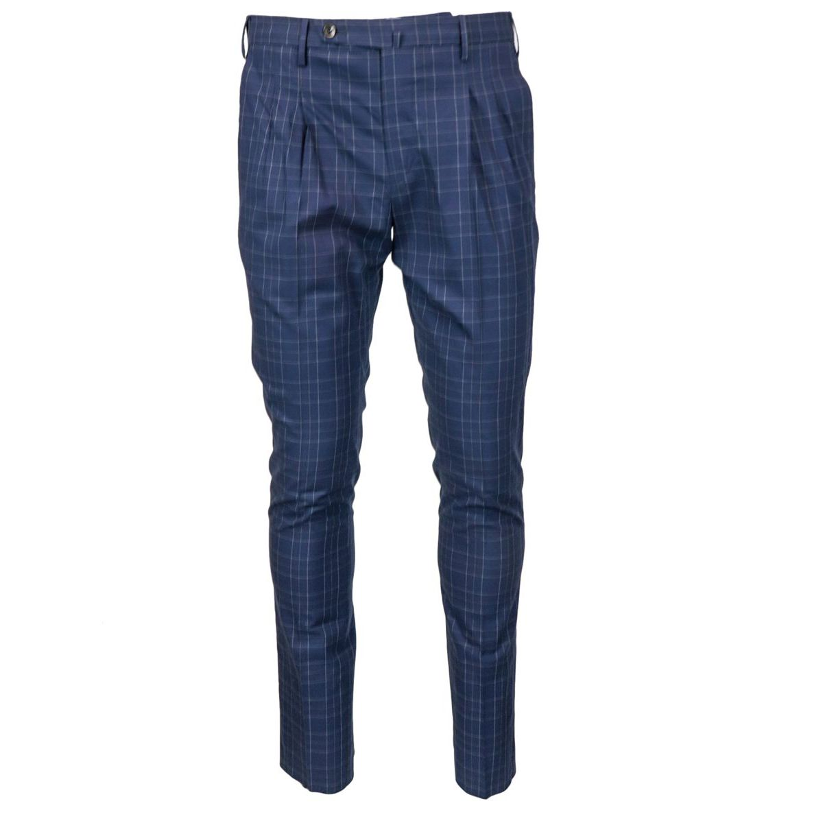 Trousers with pleats in madras patterned cotton Blue PT TORINO