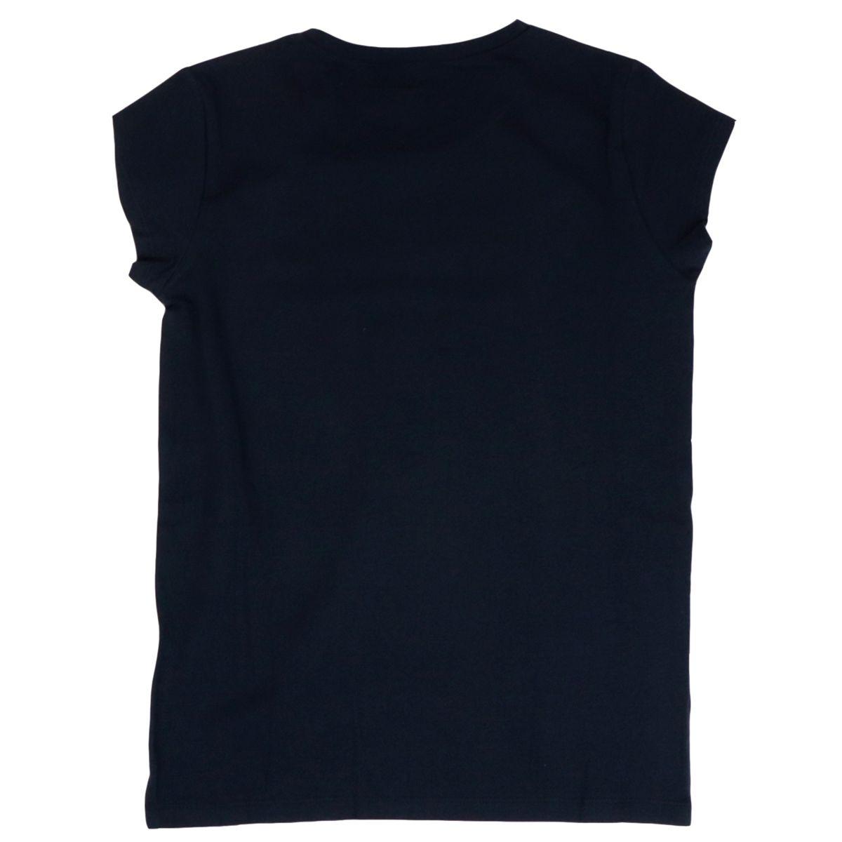 Short-sleeved T-shirt in cotton jersey with rhinestone logo. Blue / gold Liu Jo