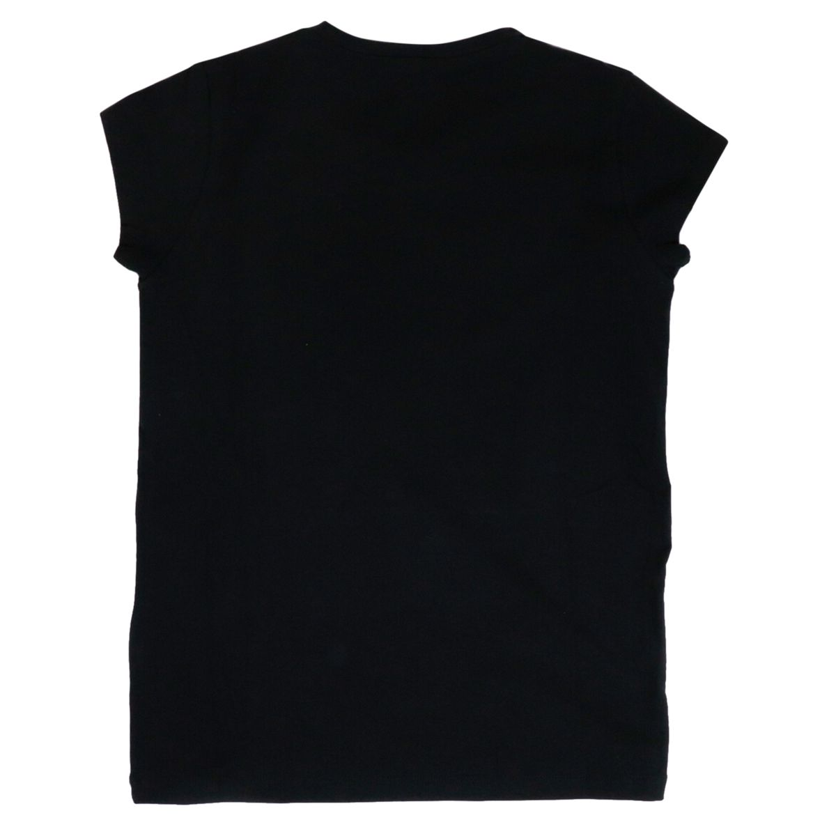 Short-sleeved T-shirt in cotton jersey with rhinestone logo. Black / gold Liu Jo
