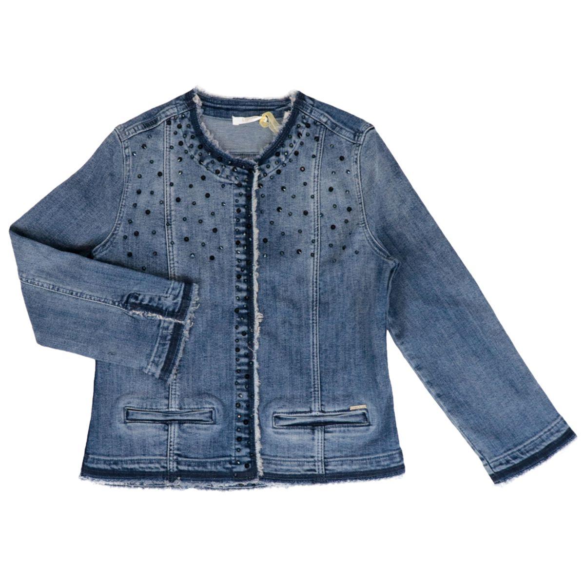 Denim jacket in strech denim with stonewash wash and rhinestones Blue denim Liu Jo