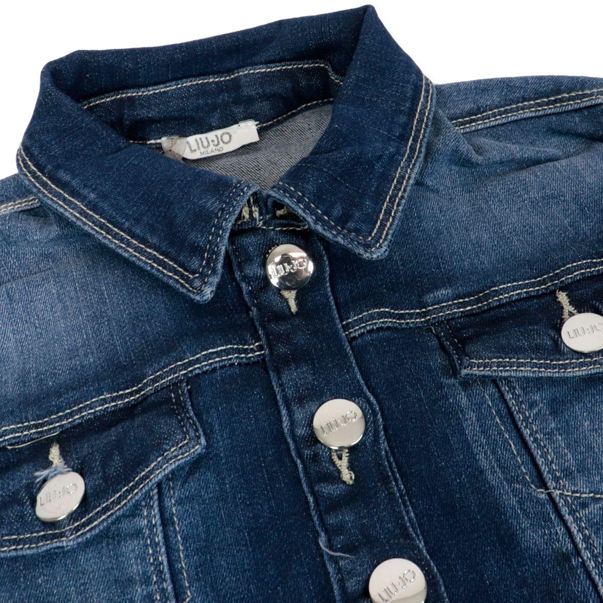 Short jacket in used effect denim Blue denim Liu Jo
