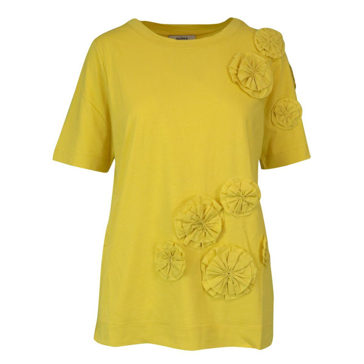 Cotton jersey T-shirt with applications Lime Alpha Studio