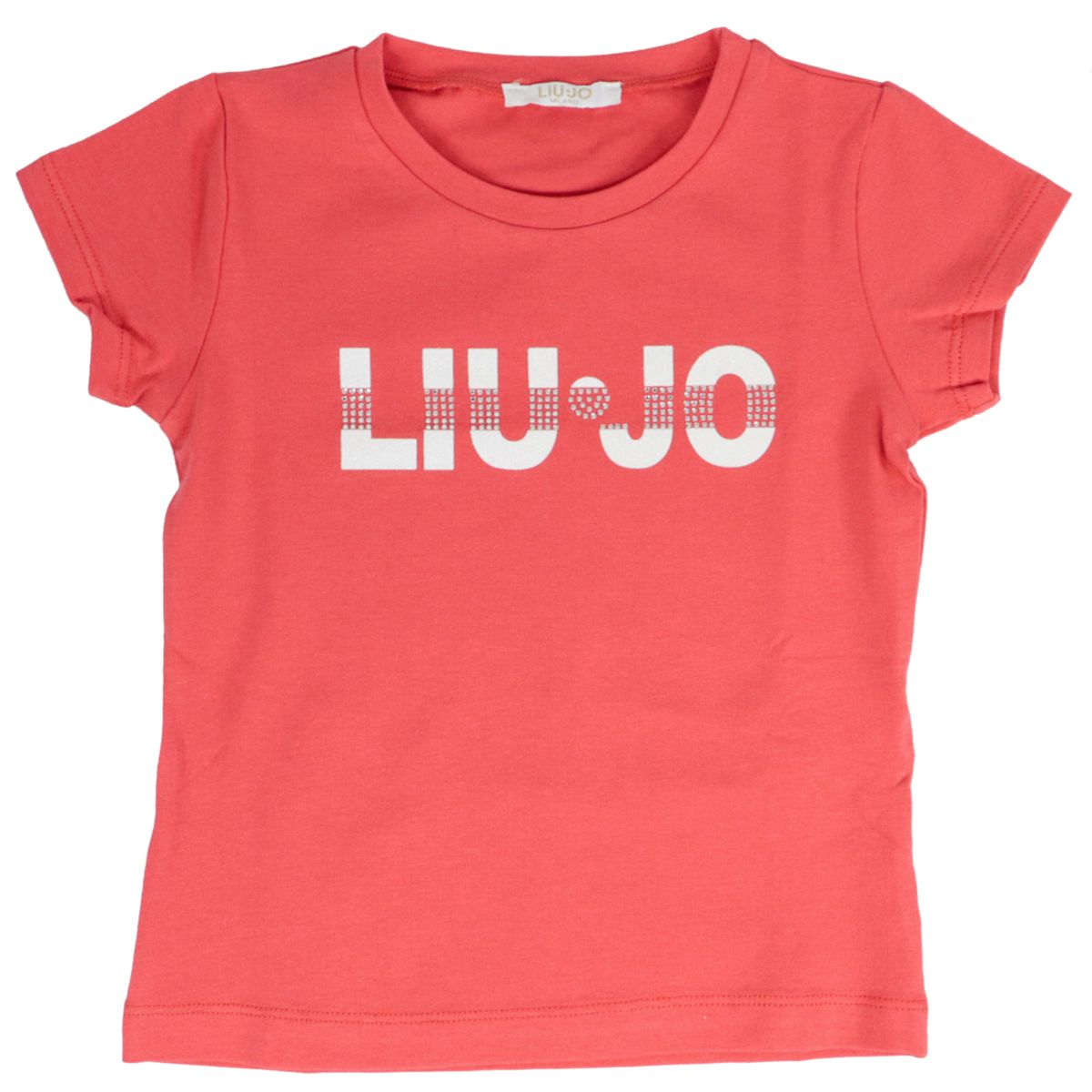 Stretch jersey T-shirt with logo and rhinestone print Coral Liu Jo