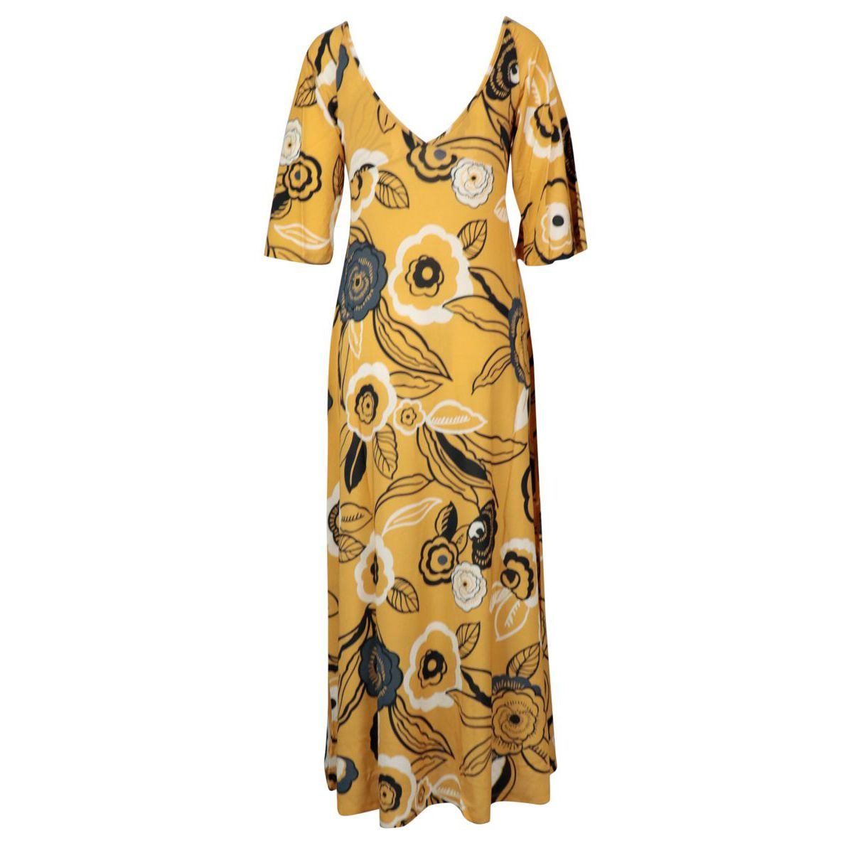 Long viscose dress with floral print and V-neck Bronze Alpha Studio