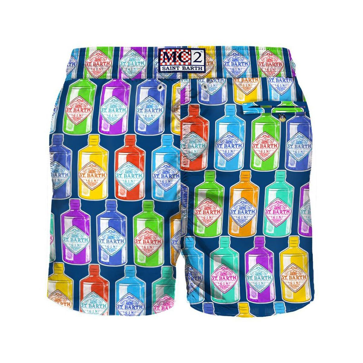 Boxer costume in nylon with Gin bottles print Navy MC2 Saint Barth