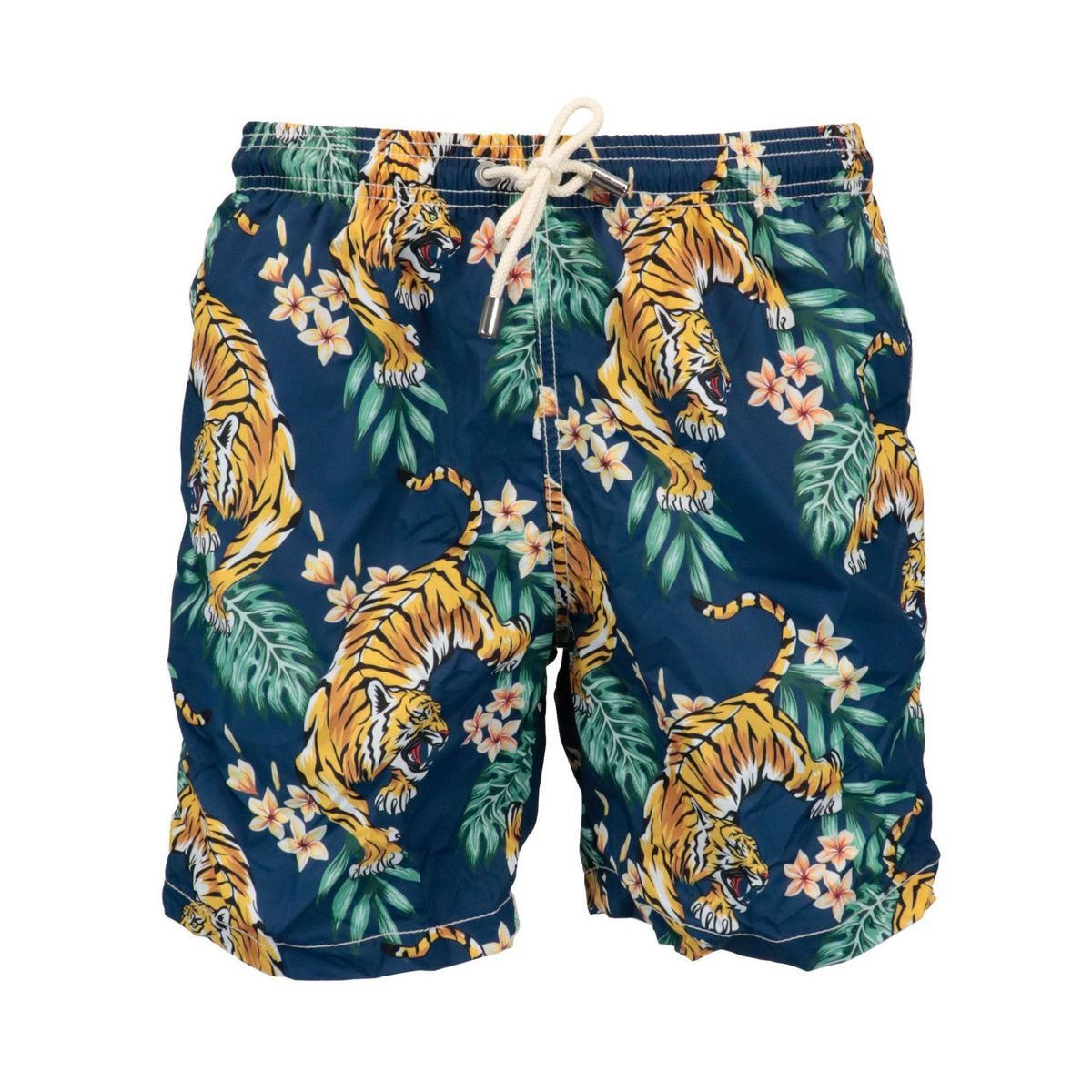 Boxer costume in nylon with tropical tiger print Navy MC2 Saint Barth