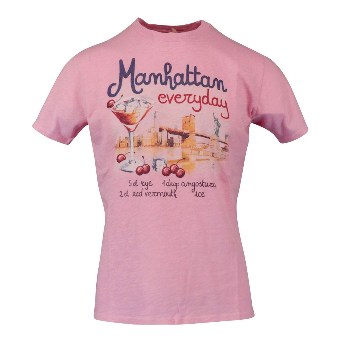 Manhattan Drink 21 cotton t-shirt Pink MC2 Saint Barth
