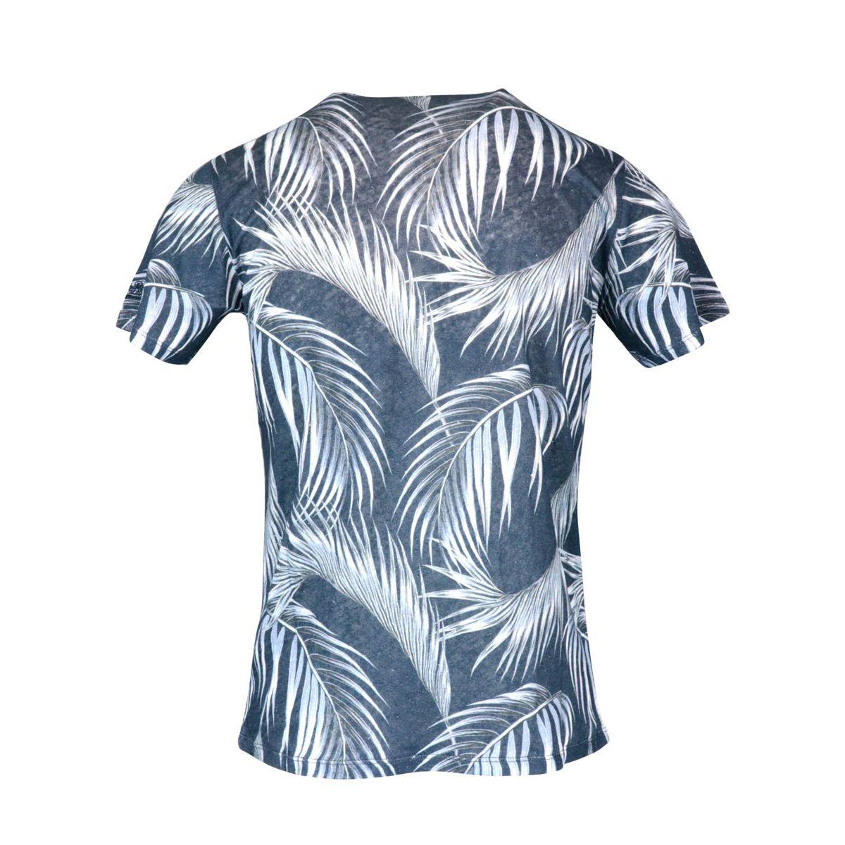 Calm Palm 61 linen T-shirt Blue MC2 Saint Barth