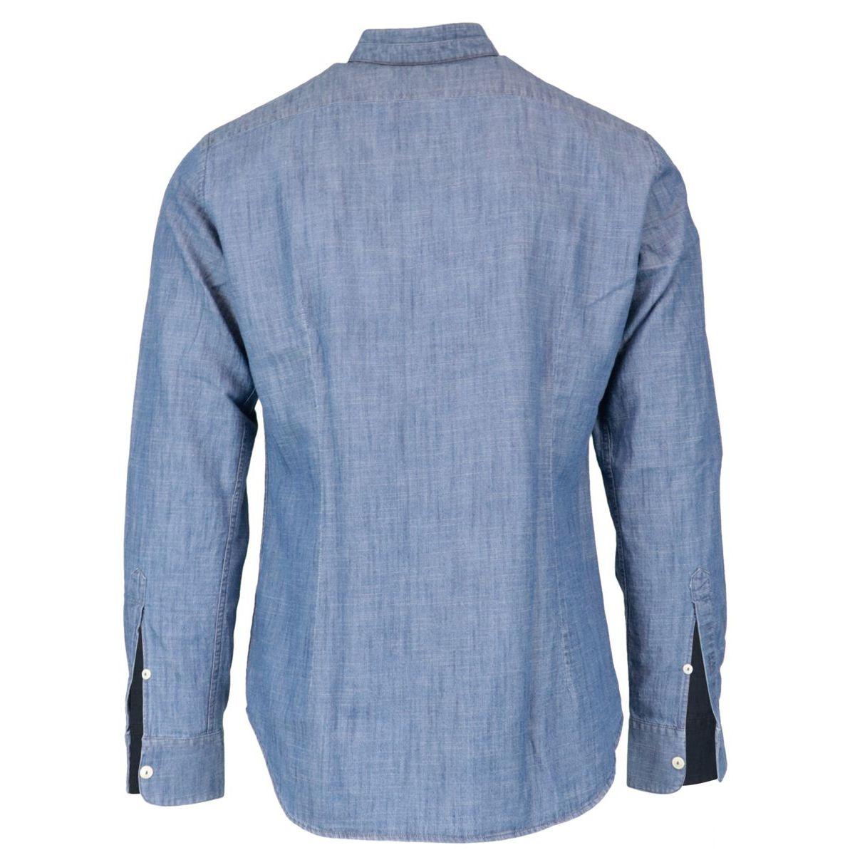 Slim fit shirt in Korean collar linen Denim MC2 Saint Barth