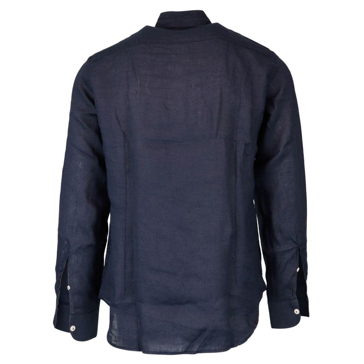 Slim fit shirt in Korean collar linen Navy MC2 Saint Barth