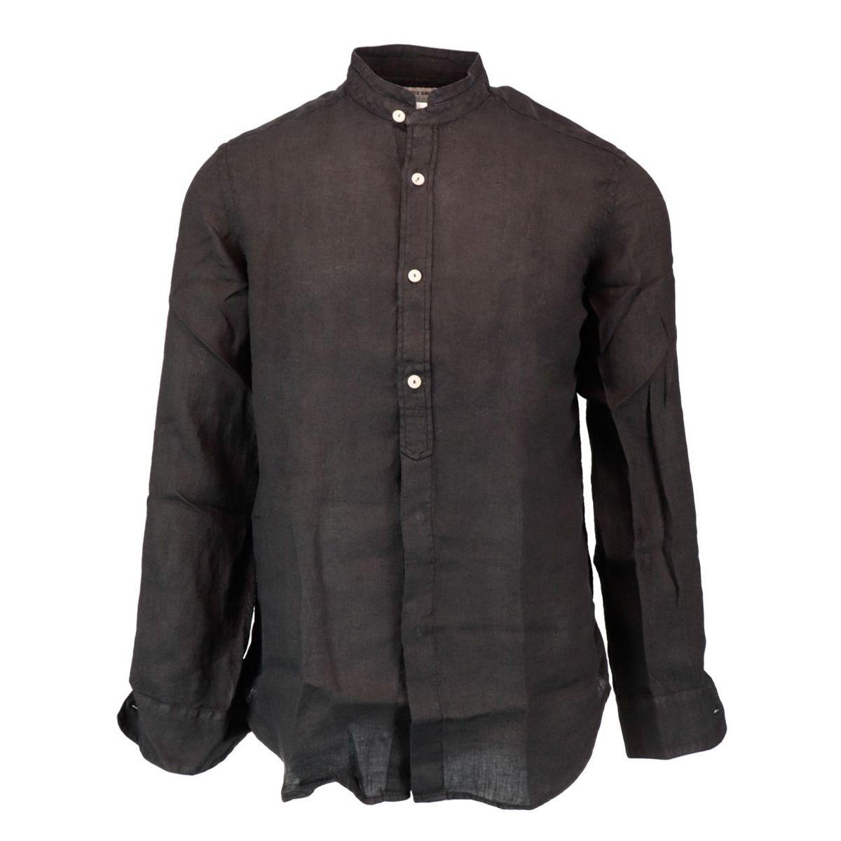 Slim fit shirt in Korean collar linen Black MC2 Saint Barth