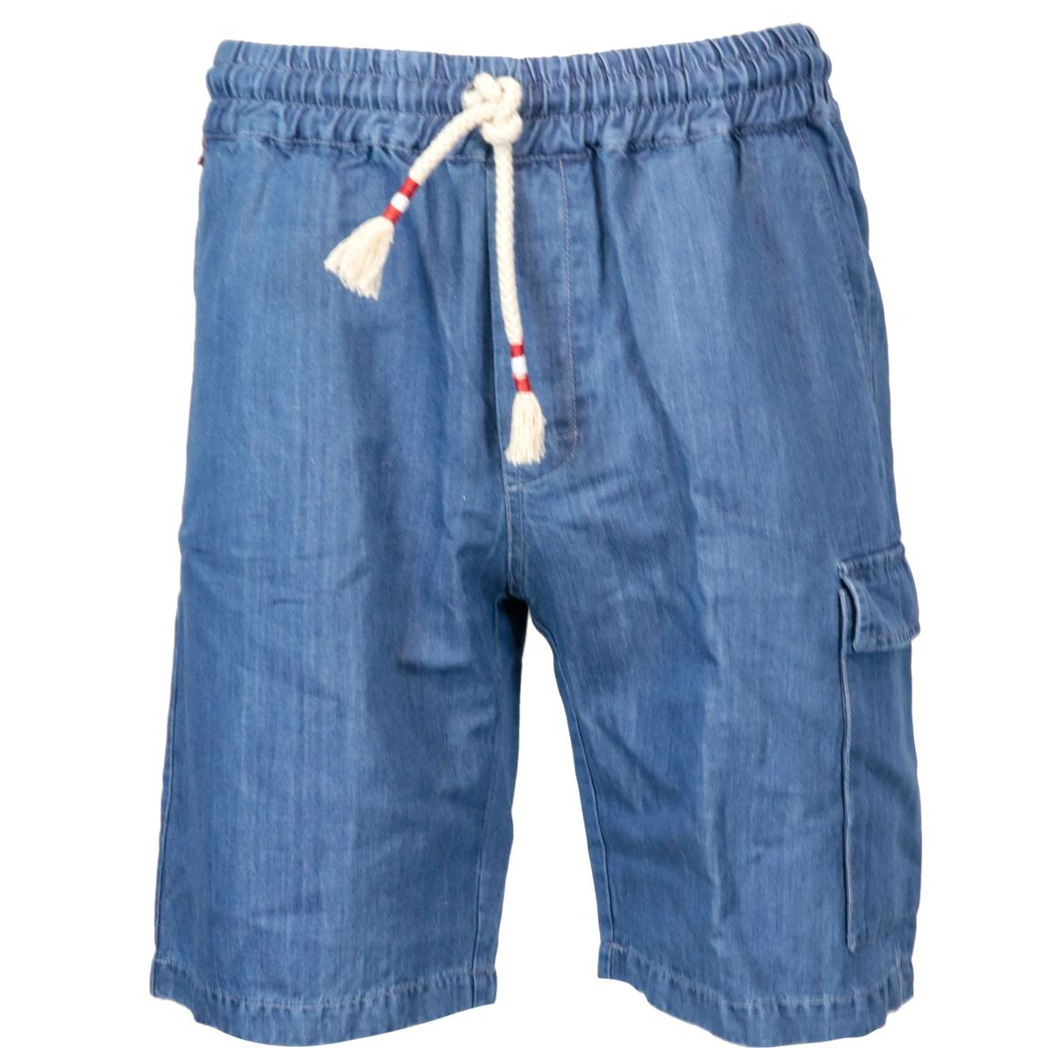 Denim-effect linen blend bermuda. Denim MC2 Saint Barth