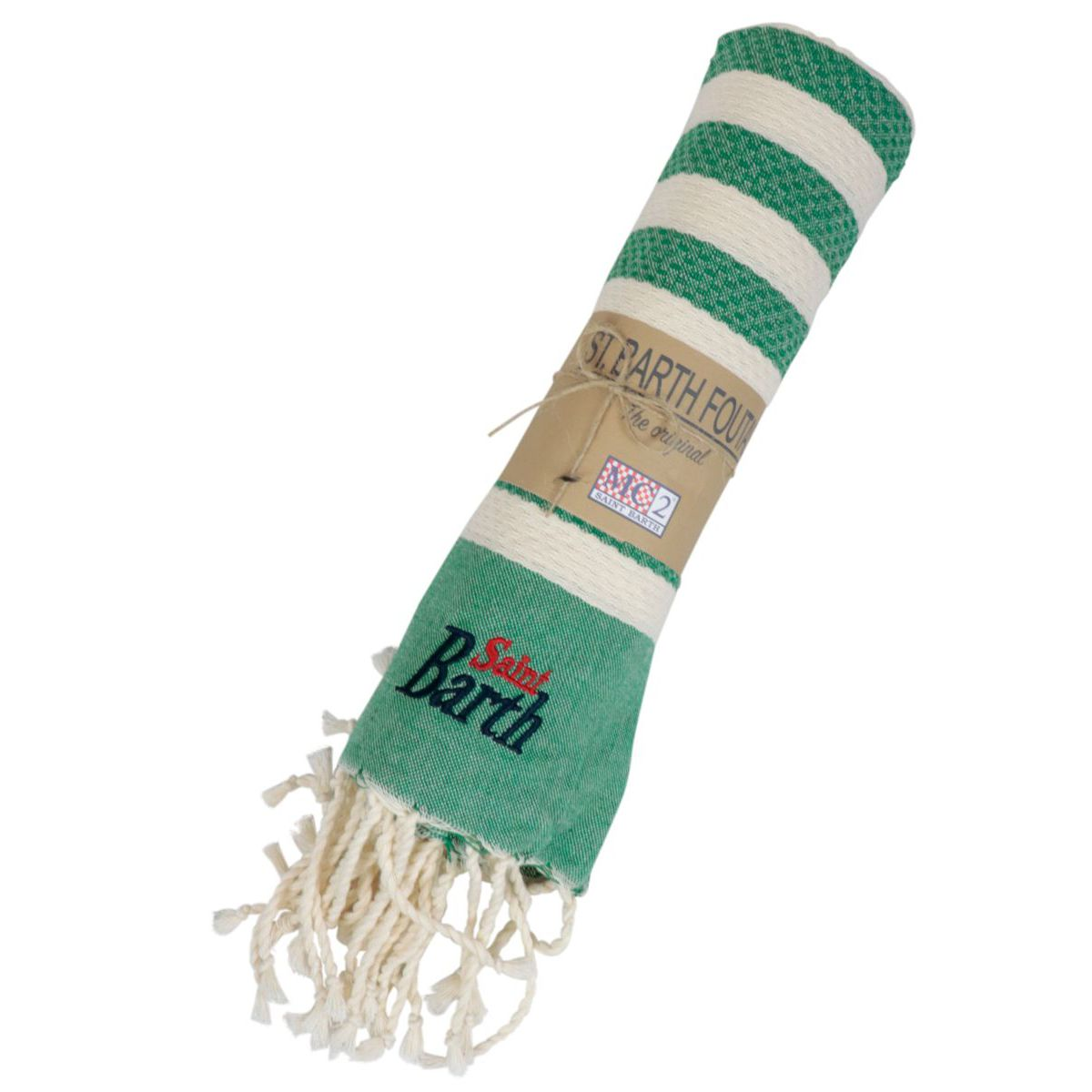 Beach towel in light cotton with fringes Green MC2 Saint Barth