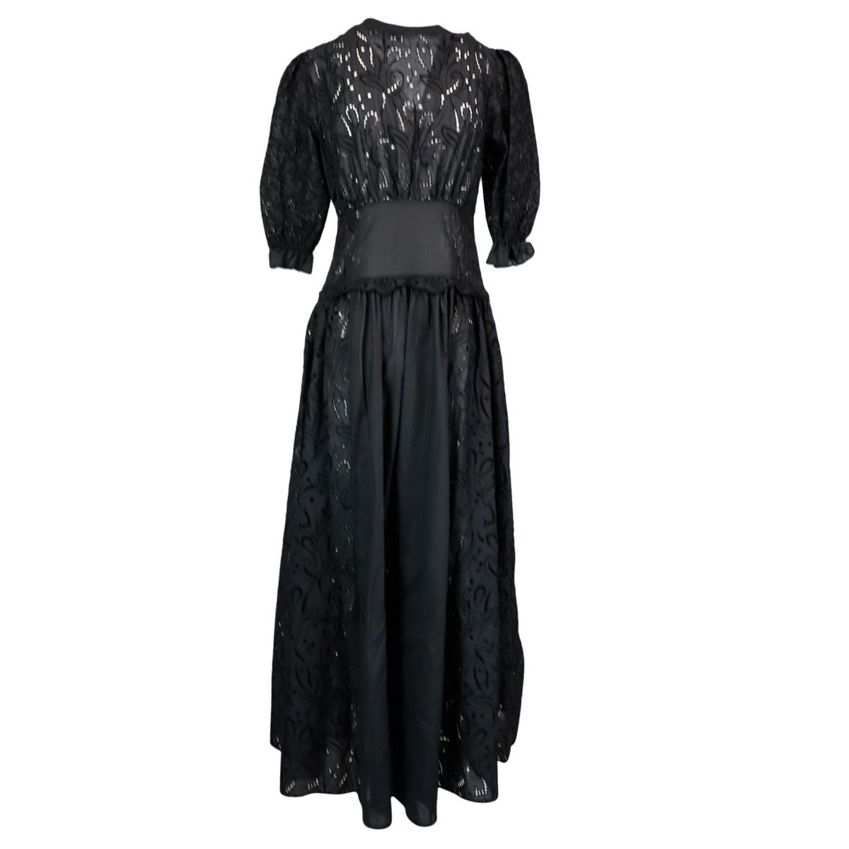 V-neck sangallo lace shirt dress, Black ERMANNO SCERVINO