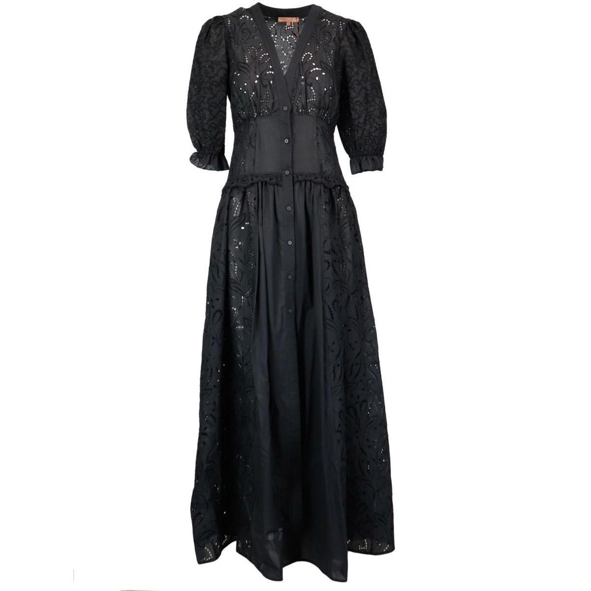 V-neck sangallo lace shirt dress, Black ERMANNO SCERVINO