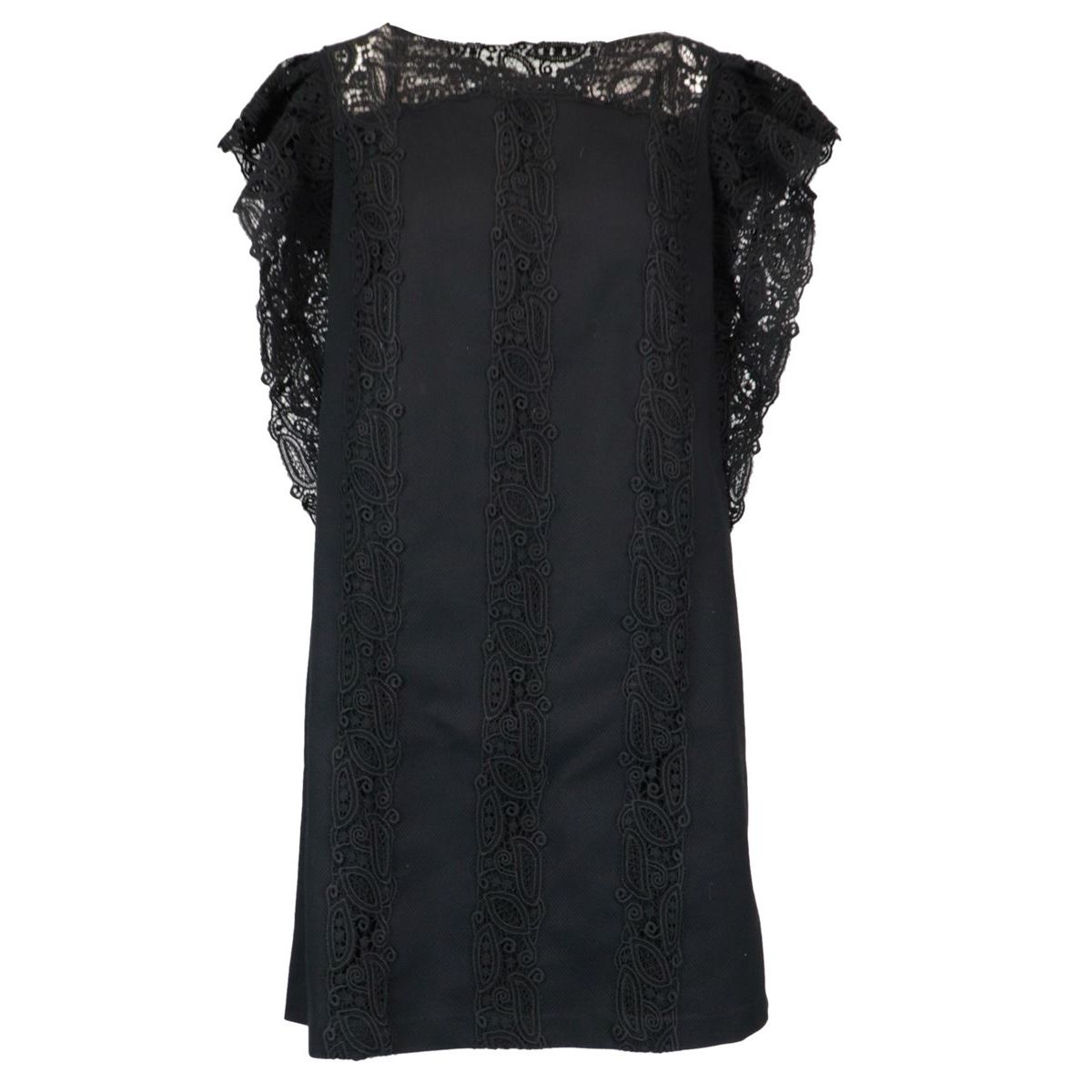 Stretch cotton pinafore with embroidered details Black ERMANNO SCERVINO