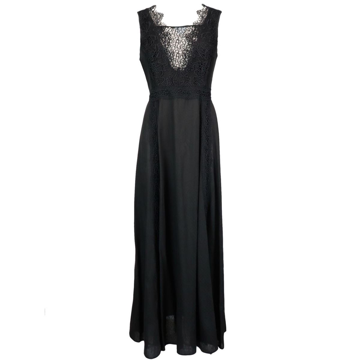 Long linen and viscose dress with front embroidery Black ERMANNO SCERVINO