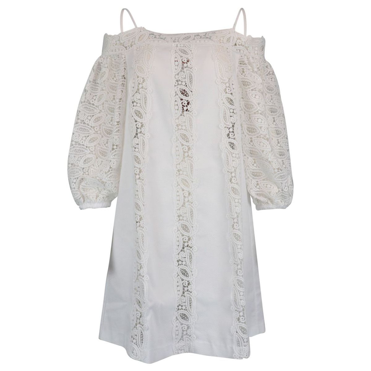 Stretch cotton dress with details and lace sleeve White ERMANNO SCERVINO
