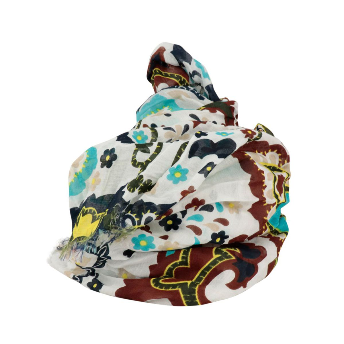 Cotton and silk scarf with floral pattern Heavenly white Altea