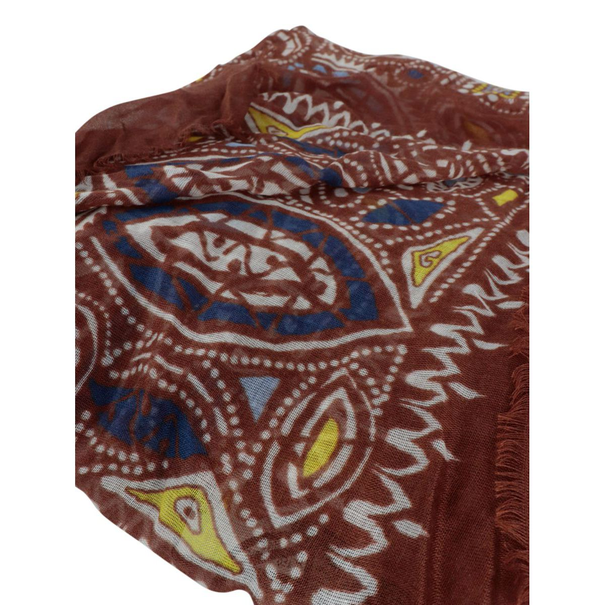 Patterned silk and modal scarf Brown Altea