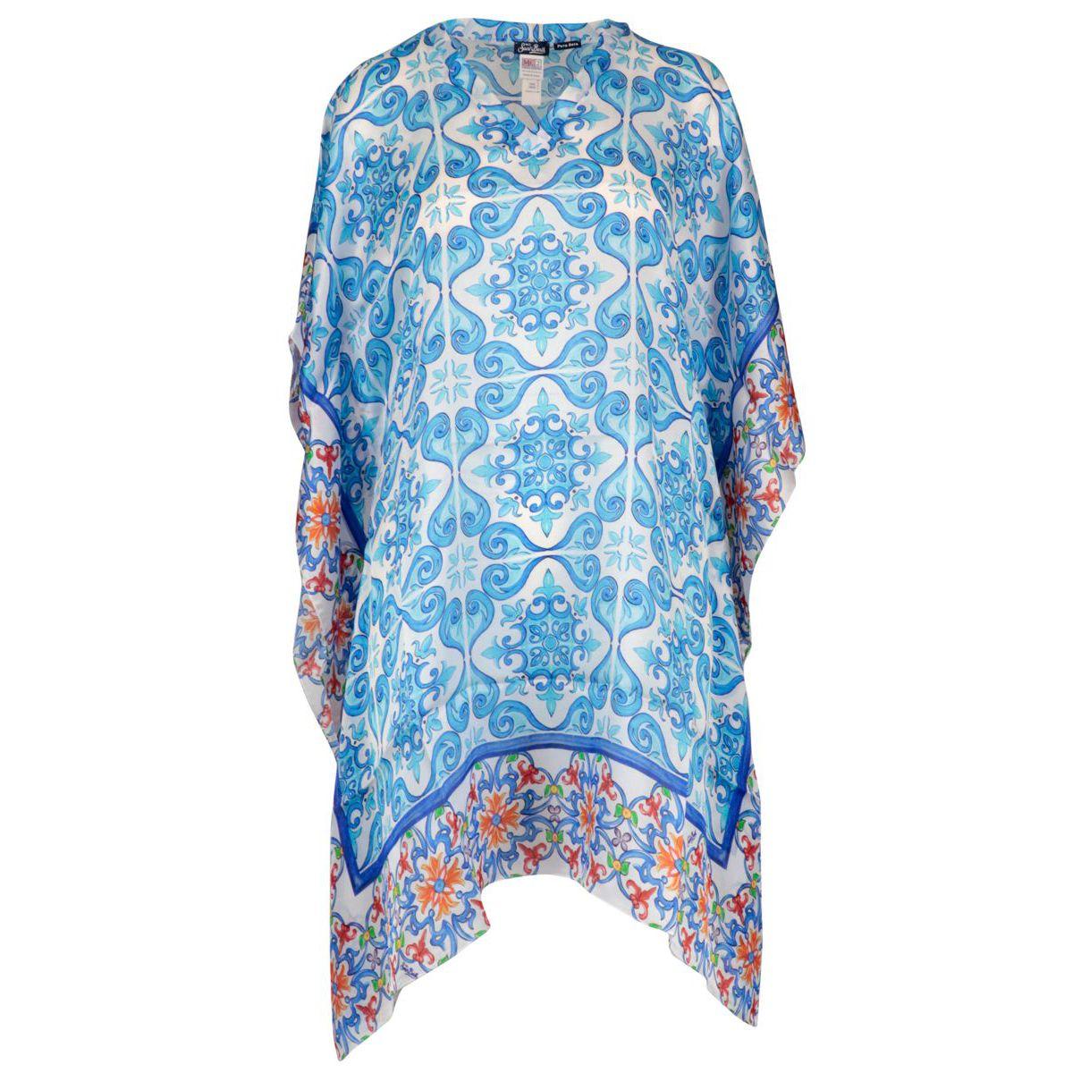 Kalida silk kaftan with majolica print Blue white MC2 Saint Barth
