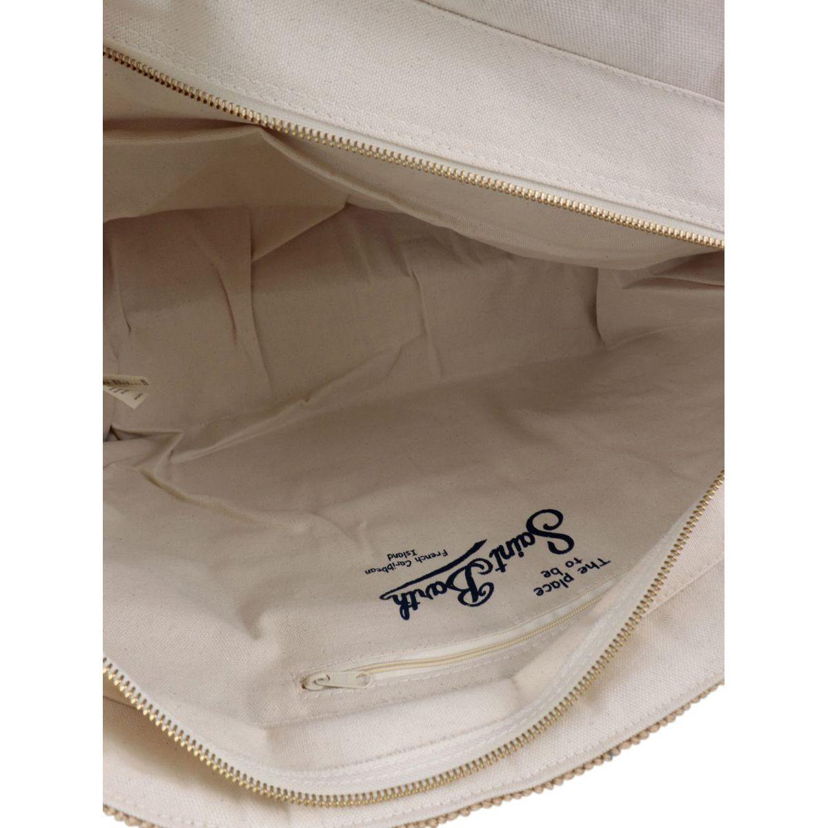 Helene jute bag with leather handles White sand MC2 Saint Barth