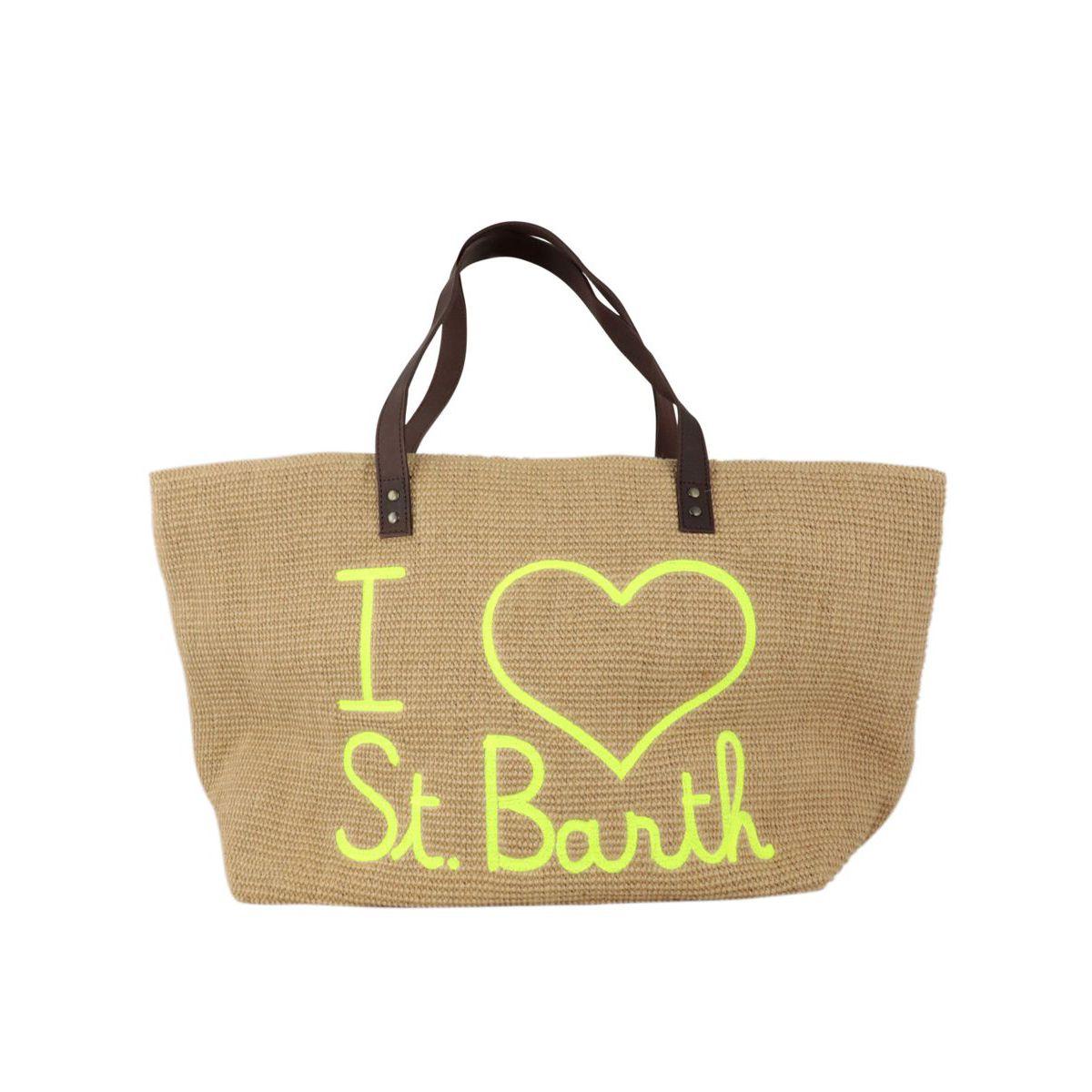 Helene jute bag with leather handles Sand MC2 Saint Barth
