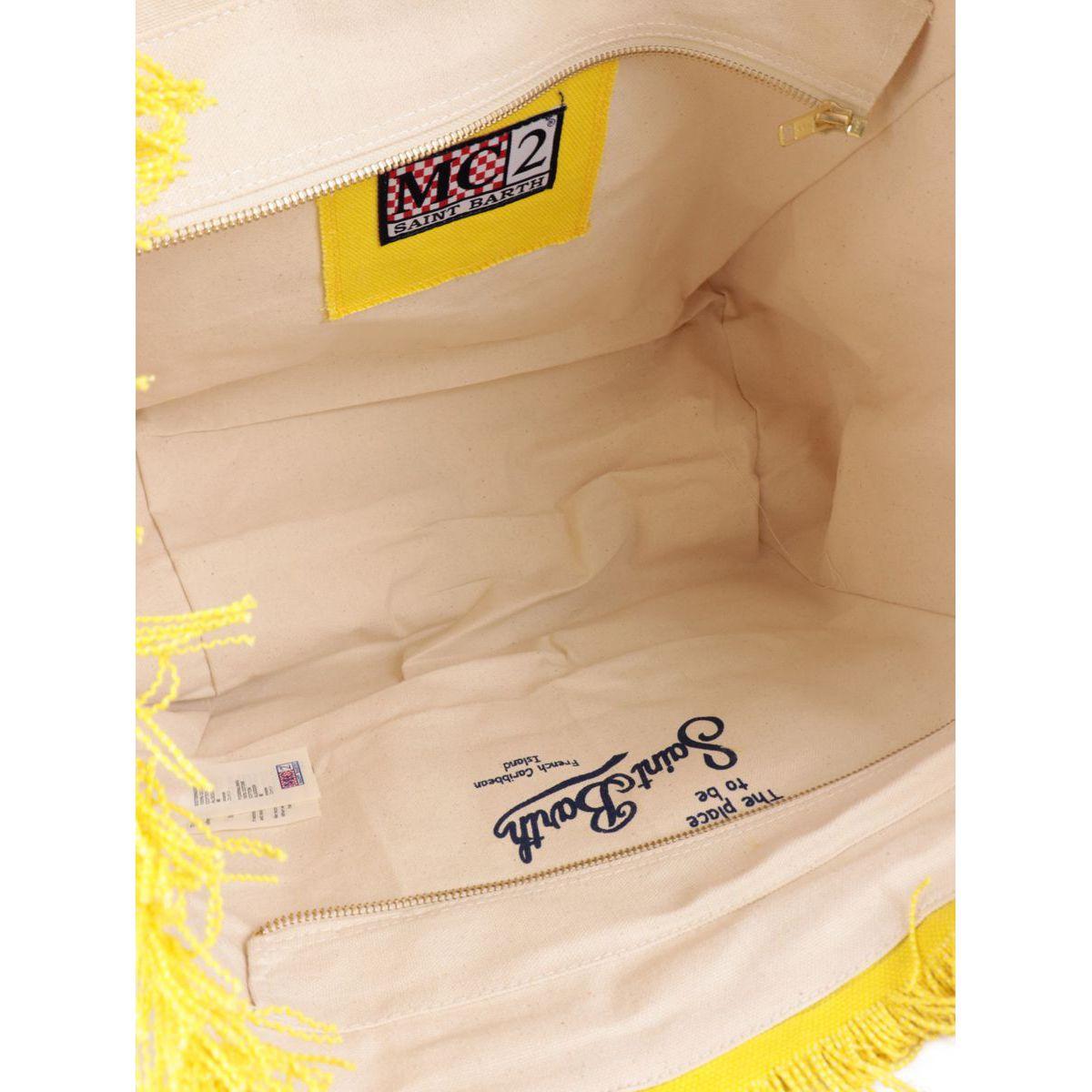 Large Vanity bag in canvas Fuchsia yellow MC2 Saint Barth