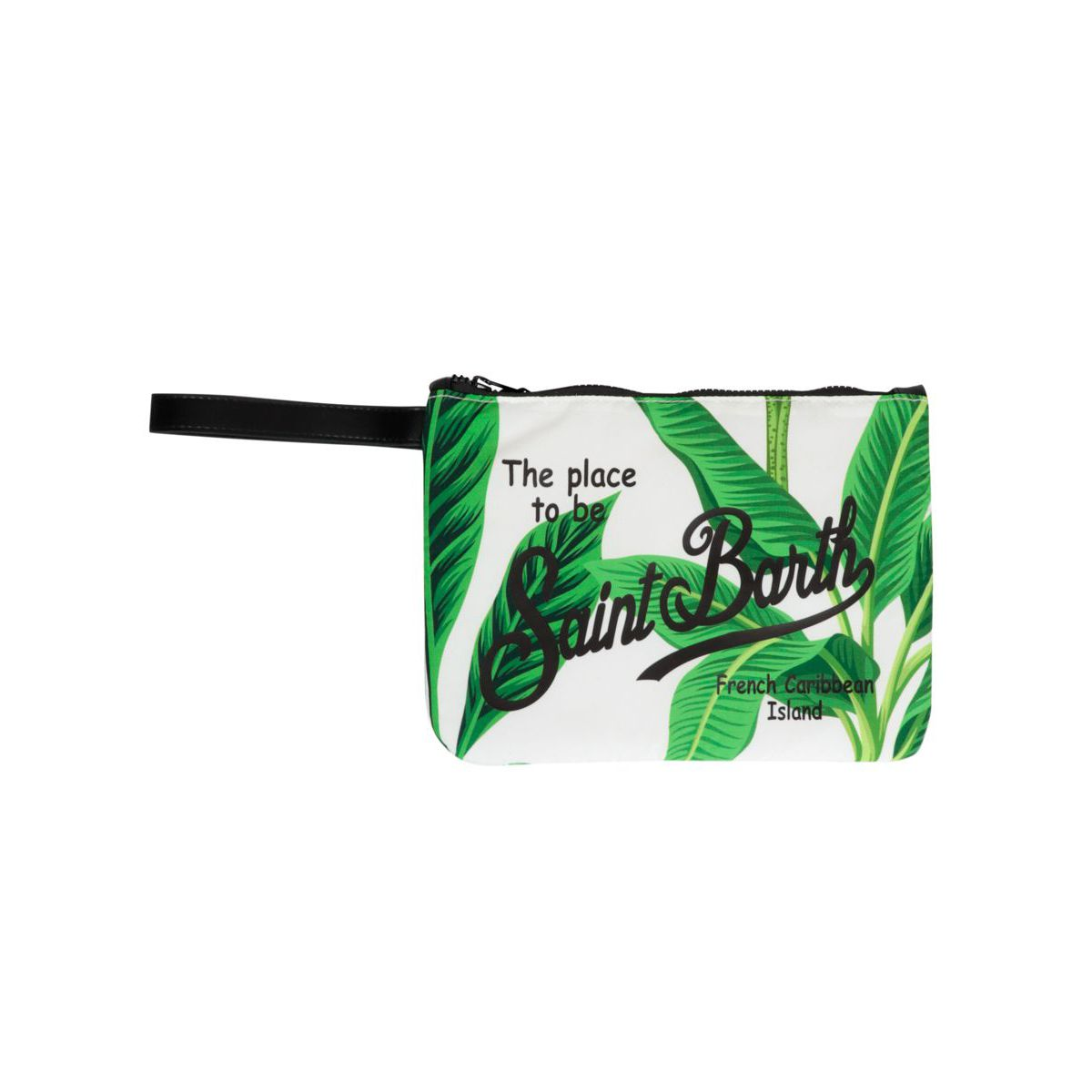 Parisienne patterned clutch bag with contrasting logo White green MC2 Saint Barth