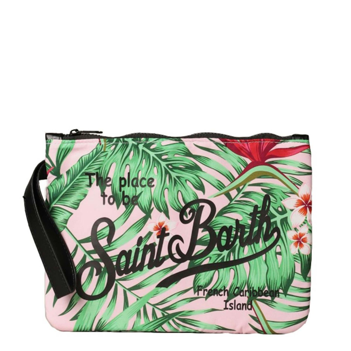 Parisienne patterned clutch bag with contrasting logo Pink / green MC2 Saint Barth