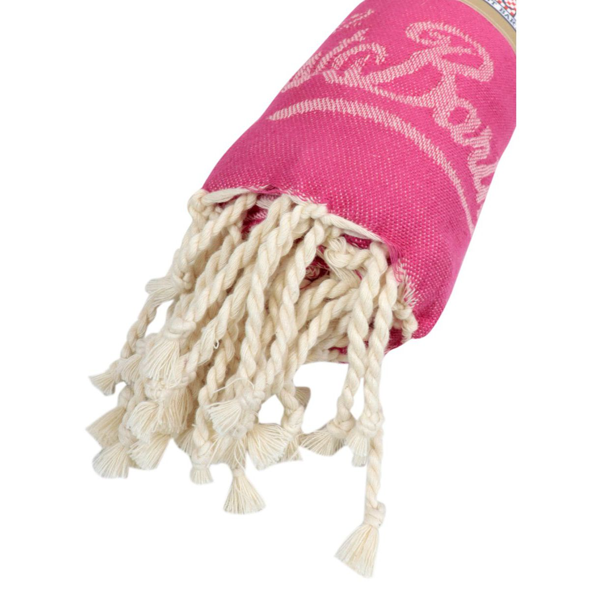 Beach towel in light patterned cotton with fringes Fuchsia MC2 Saint Barth