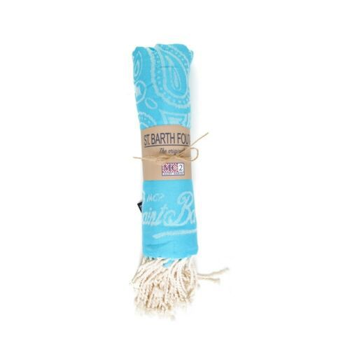 Beach towel in light patterned cotton with fringes Tiffany MC2 Saint Barth