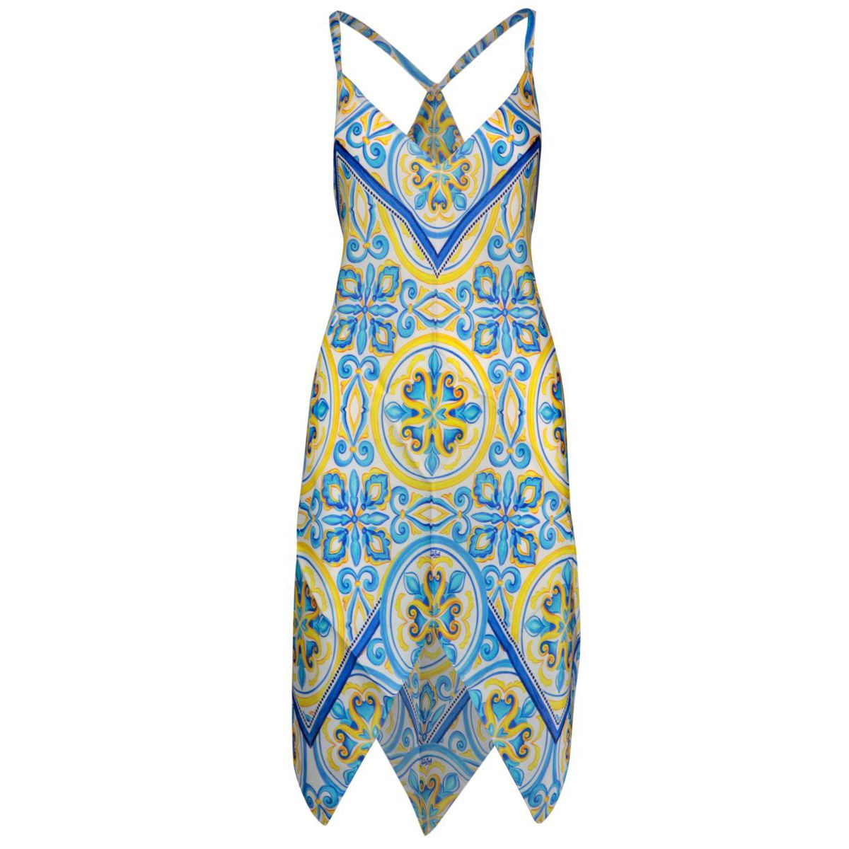 Silk dress with straps and majolica print Blue majolica g MC2 Saint Barth