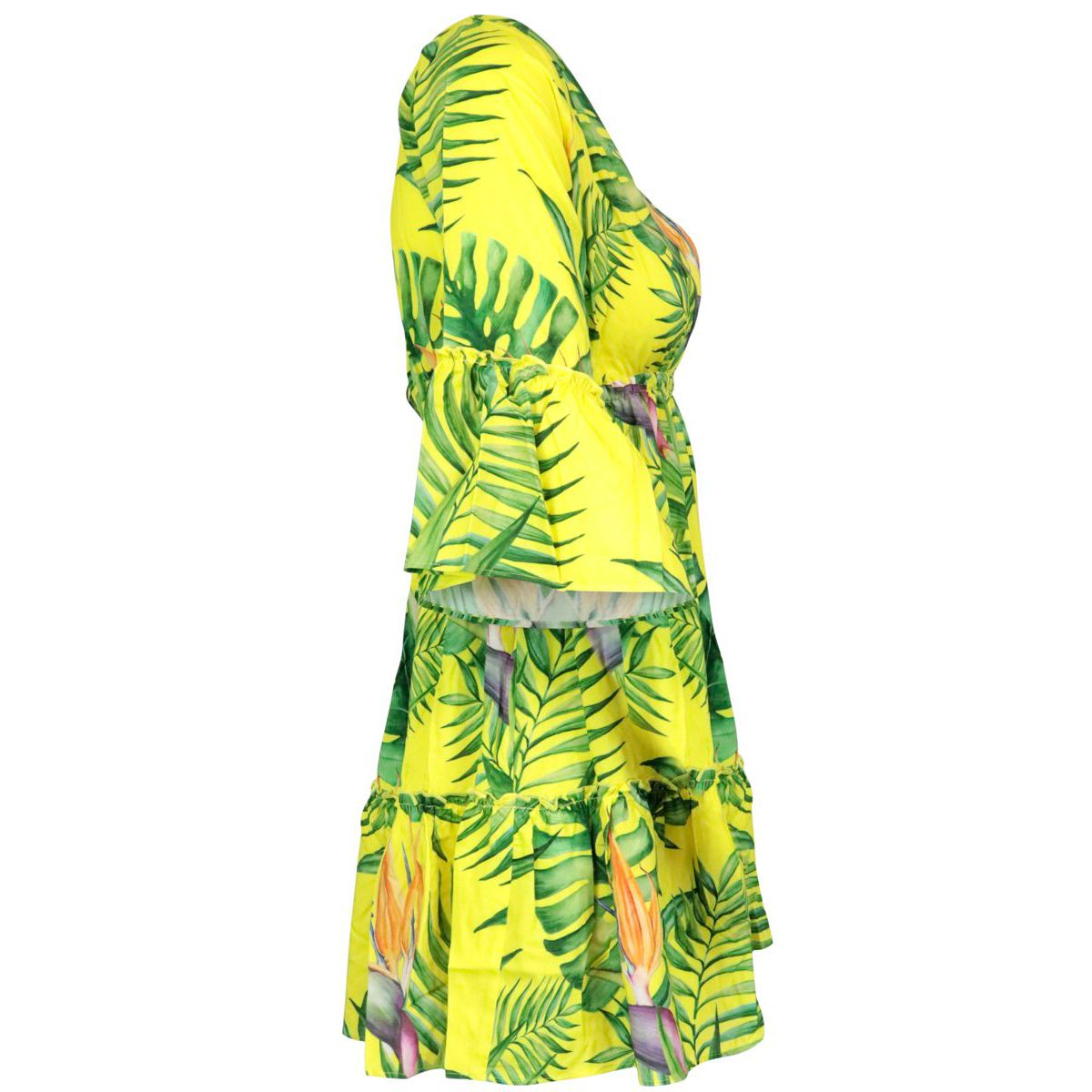 Short patterned viscose dress Yellow green MC2 Saint Barth