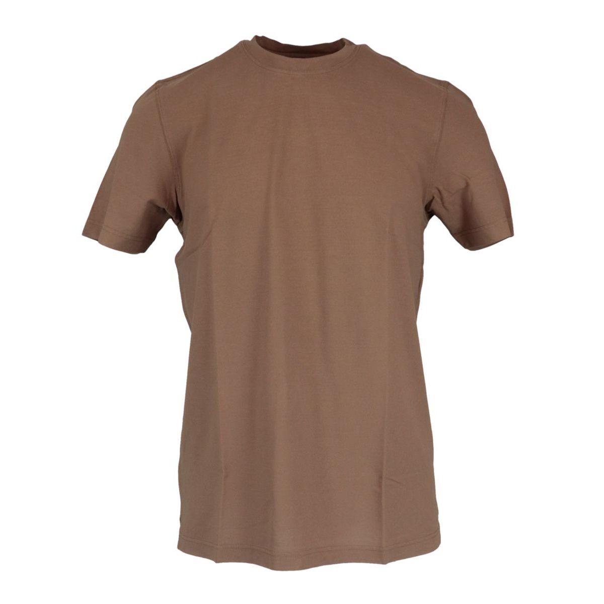 Crew neck t-shirt in ice cotton Beaver Gran Sasso
