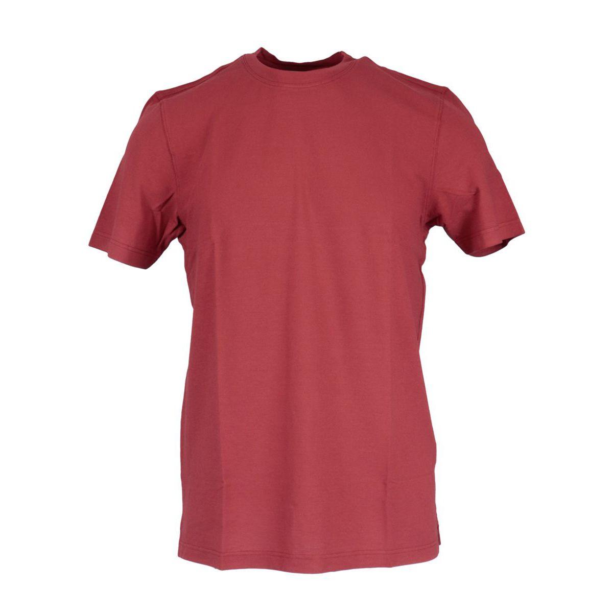 Crew neck t-shirt in ice cotton Dark red Gran Sasso