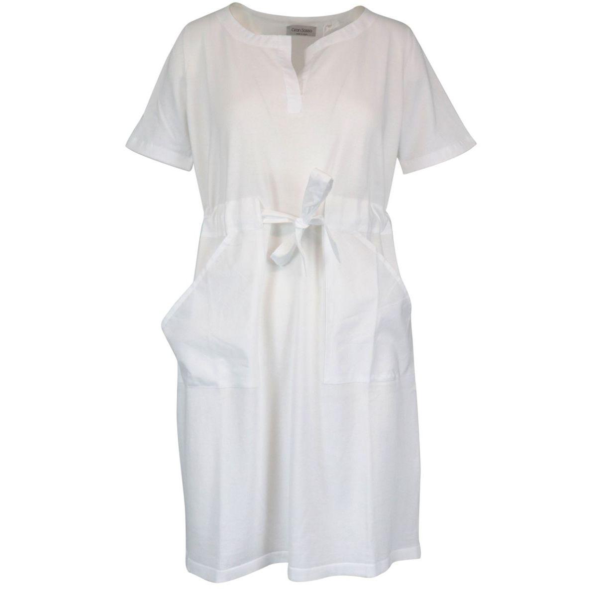 Short-sleeved cotton dress with drawstring waist White Gran Sasso