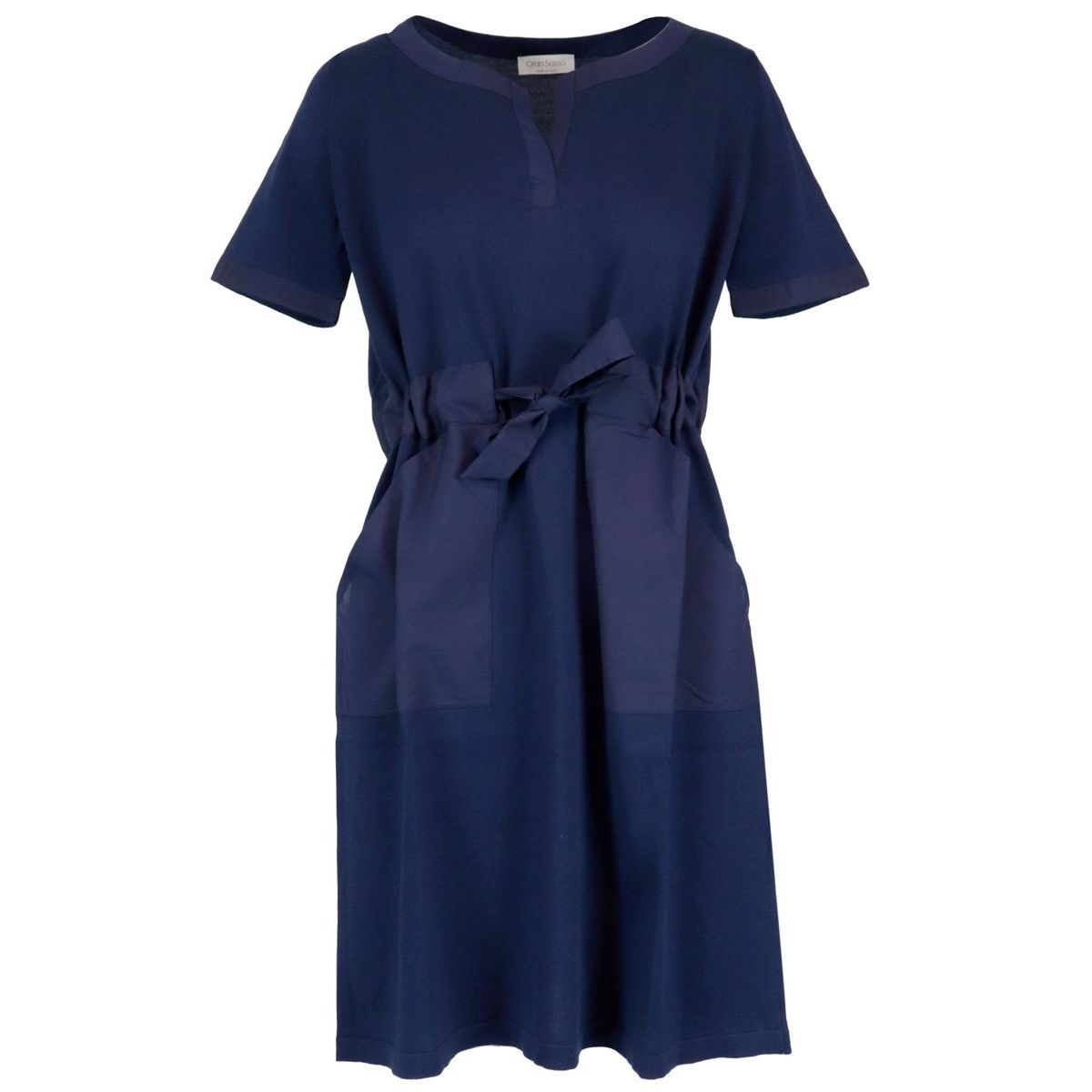 Short-sleeved cotton dress with drawstring waist Navy Gran Sasso