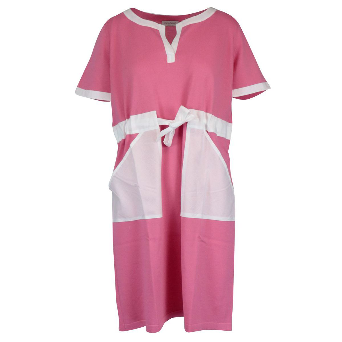 Short-sleeved cotton dress with drawstring waist Pink Gran Sasso