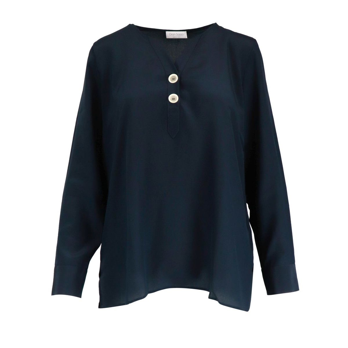 Silk blouse with two buttons Navy Gran Sasso