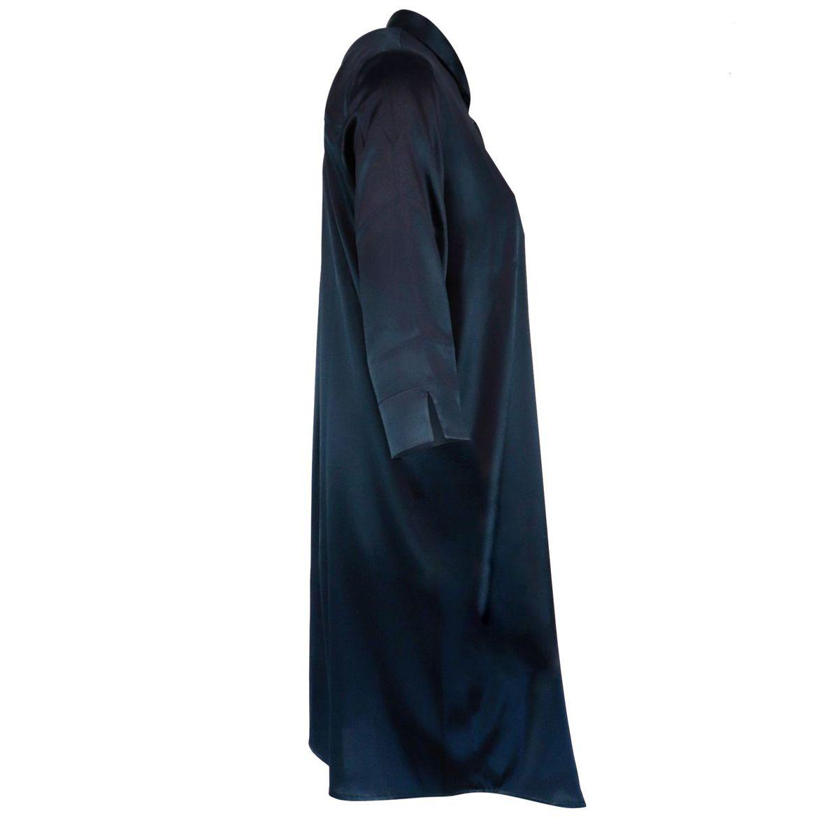 Long silk shirt with three-quarter sleeves Navy Gran Sasso