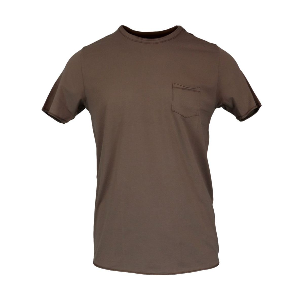 Crew-neck t-shirt in vintage effect cotton and lycra Mud Gran Sasso