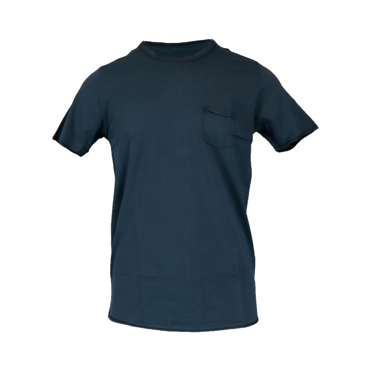 Crew-neck t-shirt in vintage effect cotton and lycra Navy Gran Sasso